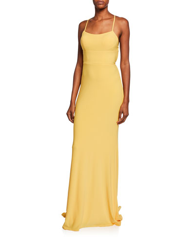 Square-Neck Sleeveless Strappy-Back Column Gown