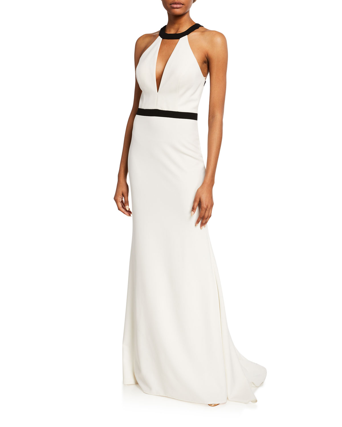 Faviana White/Black Two-Tone Framed Keyhole Halter Gown