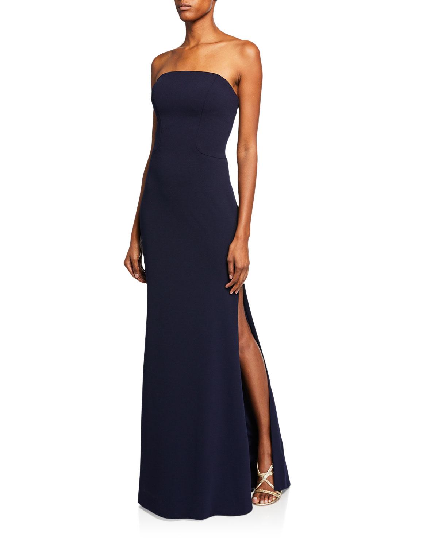 Faviana Navy Blue Strapless Bustier Strap-Back Column Gown