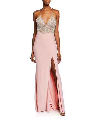 V-Neck Beaded Bodice Sleeveless Gown w/ Thigh-Slit & Lace-Up Back