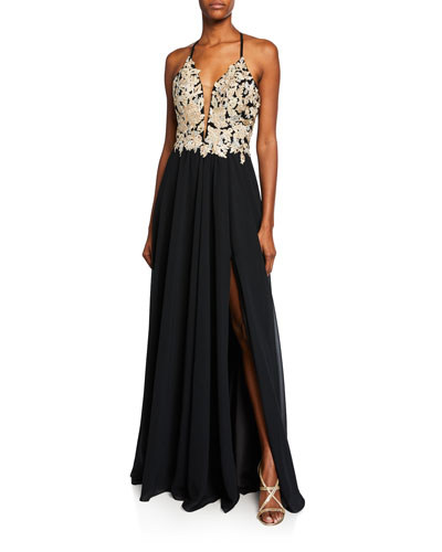 Metallic Lace Top Halter Gown with Lace-Up Back & Thigh-Slit