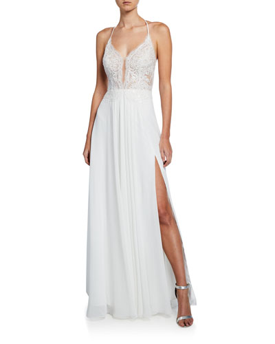 Lace Top Halter Gown with Lace-Up Back & Thigh-Slit