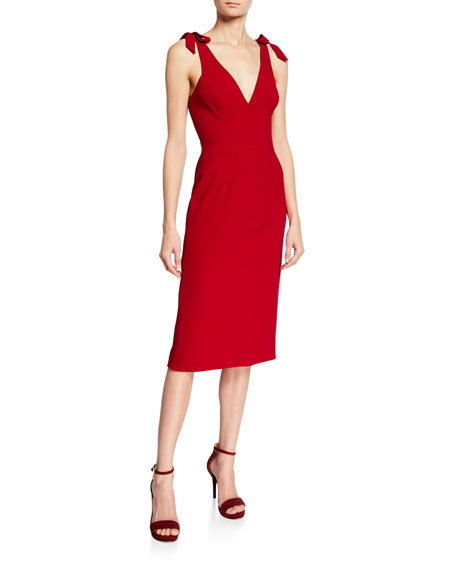 Dress The Population Dresses LITA V-NECK SLEEVELESS BOW-SHOULDER SHEATH DRESS