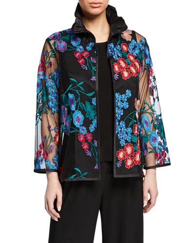 Plus Size Fresh Flower Embroidery Jacket