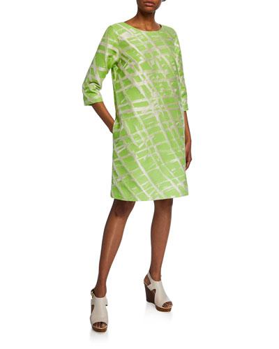 Plus Size Citrus Jacquard 3/4-Sleeve Dress