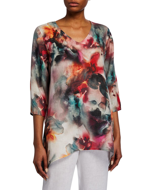 317556b1f9c9a Caroline RosePlus Size Sunset Watercolor V-Neck 3 4-Sleeve Side-Fall Linen  Tunic