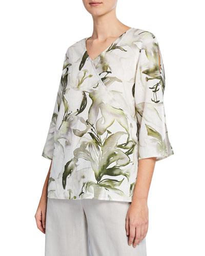 Havana Lily-Print 3/4-Sleeve Linen Top