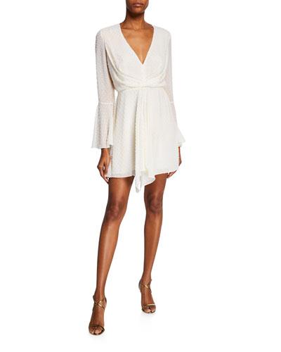 Dotted V-Neck Bell-Sleeve Drape-Front Mini Dress