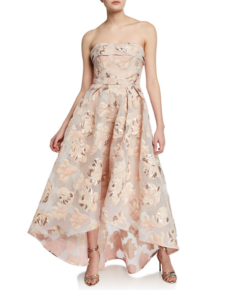 Marchesa Notte Gowns STRAPLESS METALLIC FIL COUPE HIGH-LOW GOWN