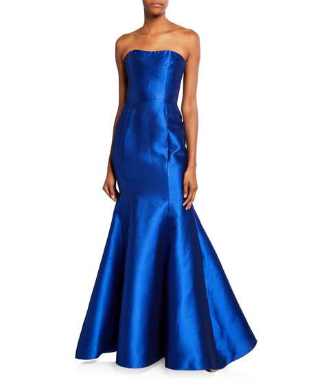Marchesa Notte Tops STRAPLESS MIKADO PIQUE MERMAID GOWN WITH BACK DRAPED BOW