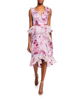 6e5de293 Marchesa Notte Sleeveless V-Neck Floral Organza Peplum Dress w/ Ruffle Trim