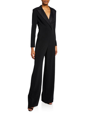 03a753810c2 Jay Godfrey Roland V-Neck Long-Sleeve Tuxedo Jumpsuit