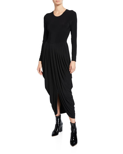 Long-Sleeve Waterfall Dress