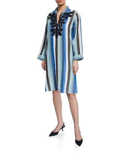 Striped Embroidered Jacquard Long-Sleeve Cotton Tunic Dress