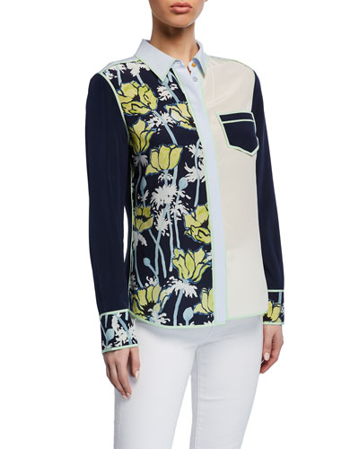 Jackie Colorblock Button-Front Long-Sleeve Silk Blouse
