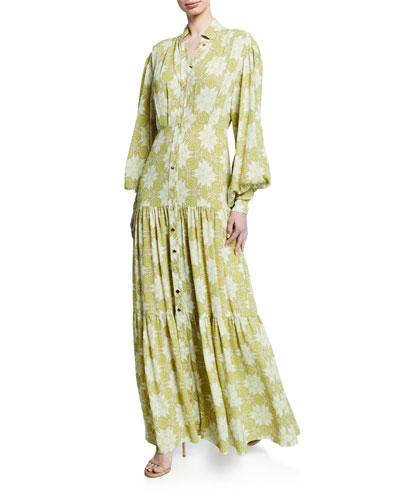 Asim Printed Button-Front Maxi Dress