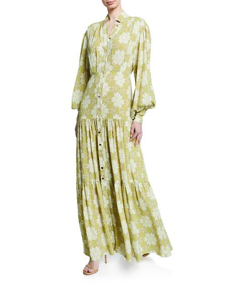 Alexis Dresses ASIM PRINTED BUTTON-FRONT MAXI DRESS