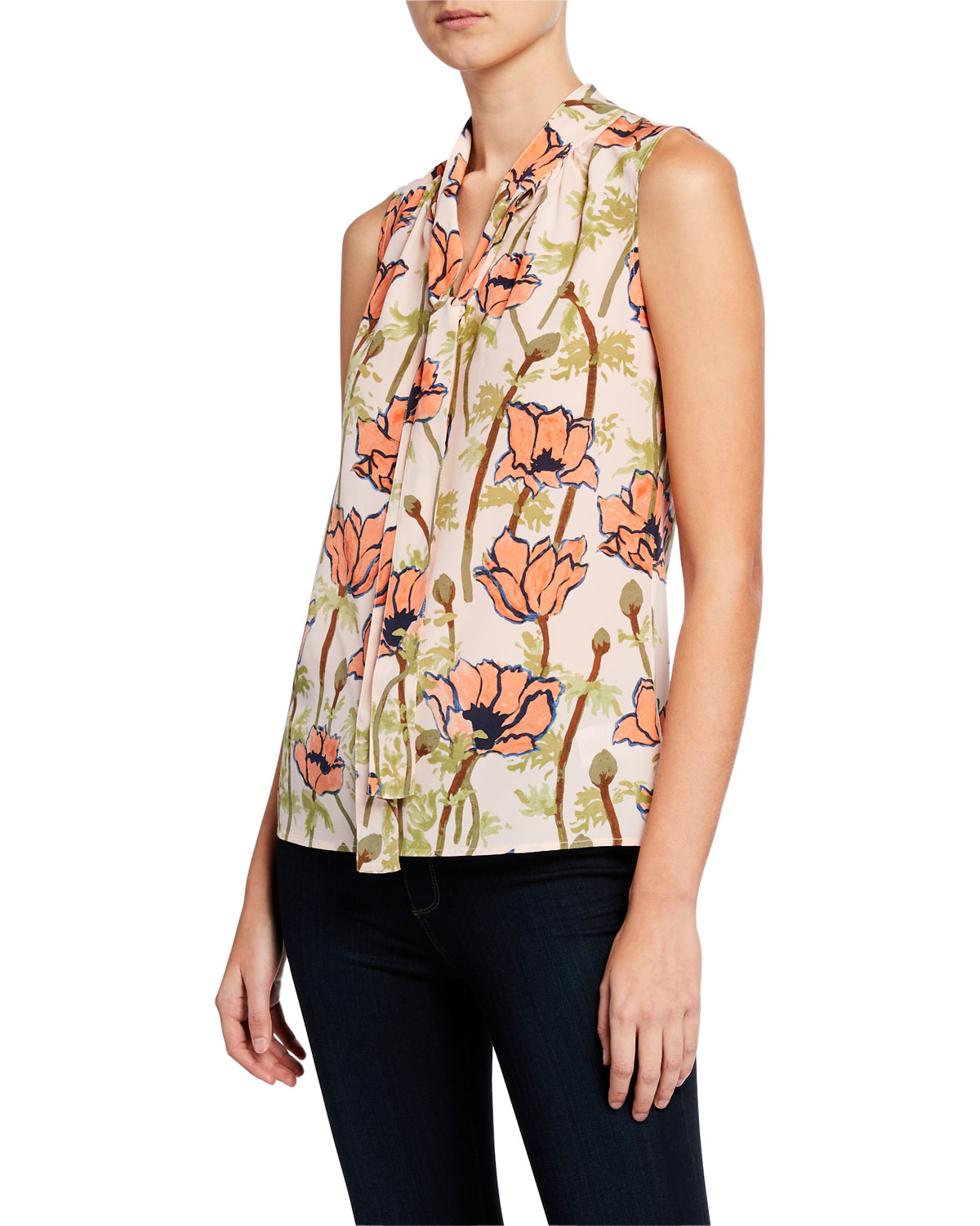 dfe8db6d2ab0 Tory Burch Floral-Printed Sleeveless Tie-Neck Bow Blouse