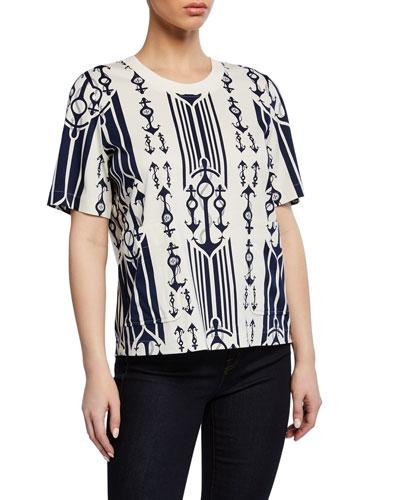 Anchor-Print Short-Sleeve T-Shirt with Pockets