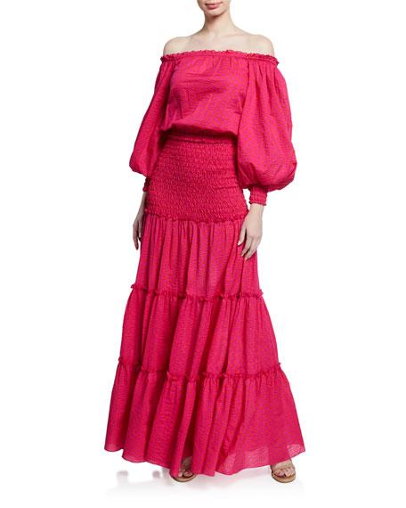 Alexis Dresses THALSSA BLOUSON-SLEEVE SMOCKED LONG DRESS