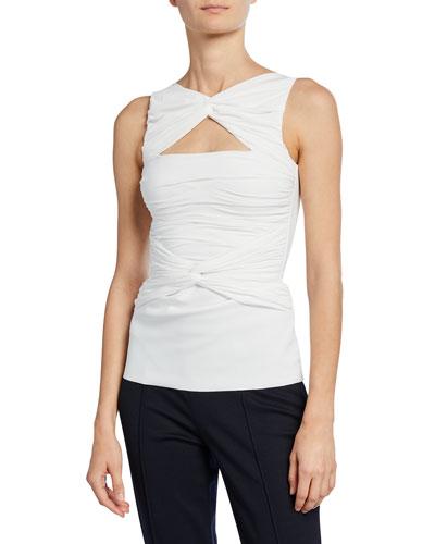 Puk Sleeveless Shirred Cutout Top
