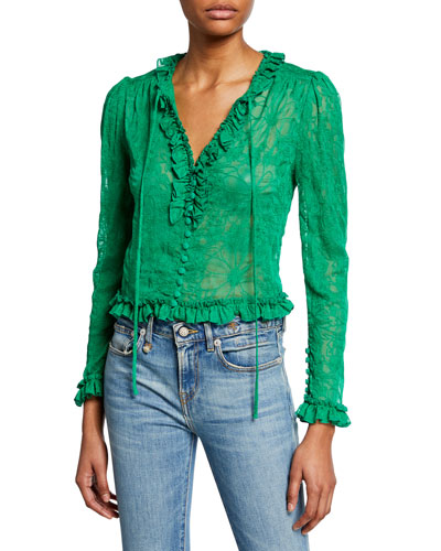 Saxon Embroidered Button-Front Long-Sleeve Crop Top w/ Ruffle Trim