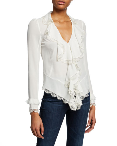 Phineas V-Neck Long-Sleeve Silk Ruffle Blouse with Lace