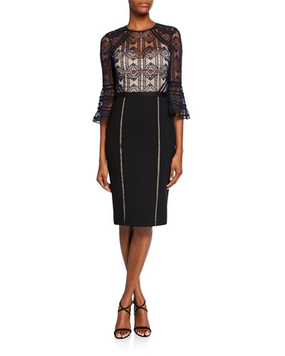 Mira Bell-Sleeve Lace Cocktail Dress