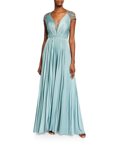 Mary V-Neck Cap-Sleeve Pleated Jersey Gown w/ Beaded Embroidery