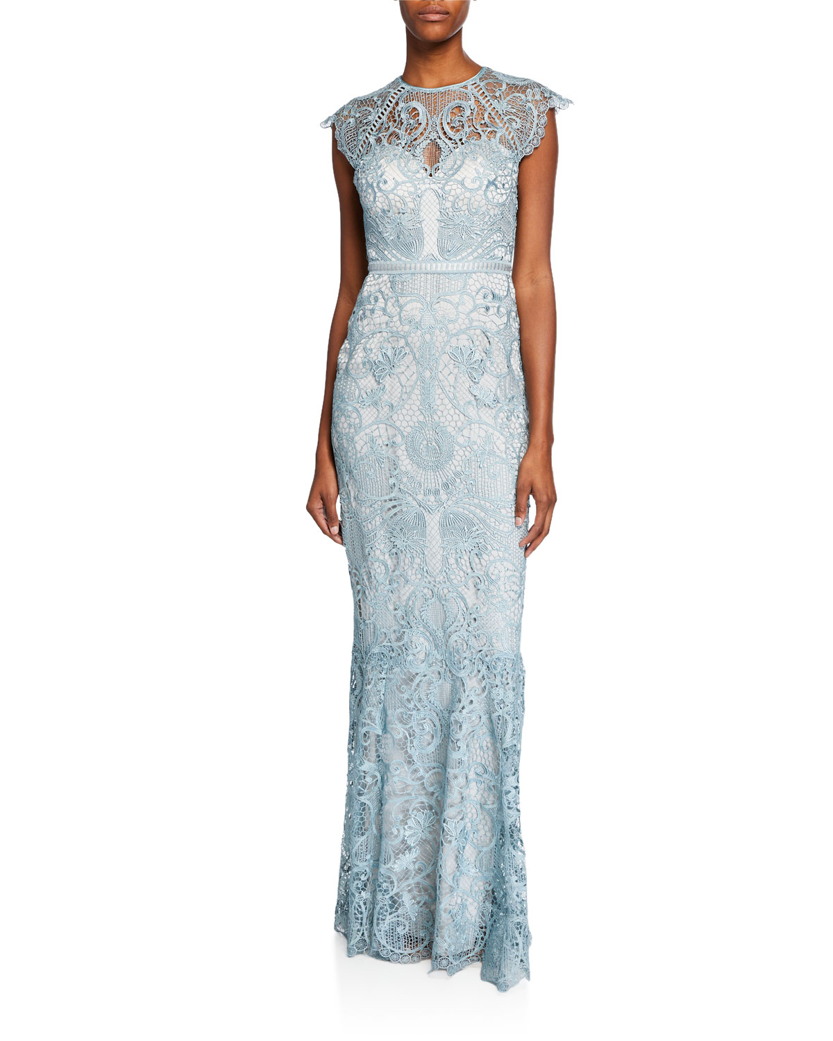 Catherine Deane Light Blue Miracle Scallop Lace Cap-Sleeve Gown with Open-Back