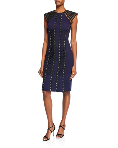 Mya Tiered Cap-Sleeve Ponte Dress w/ Grosgrain Ribbon Lace-Up Front