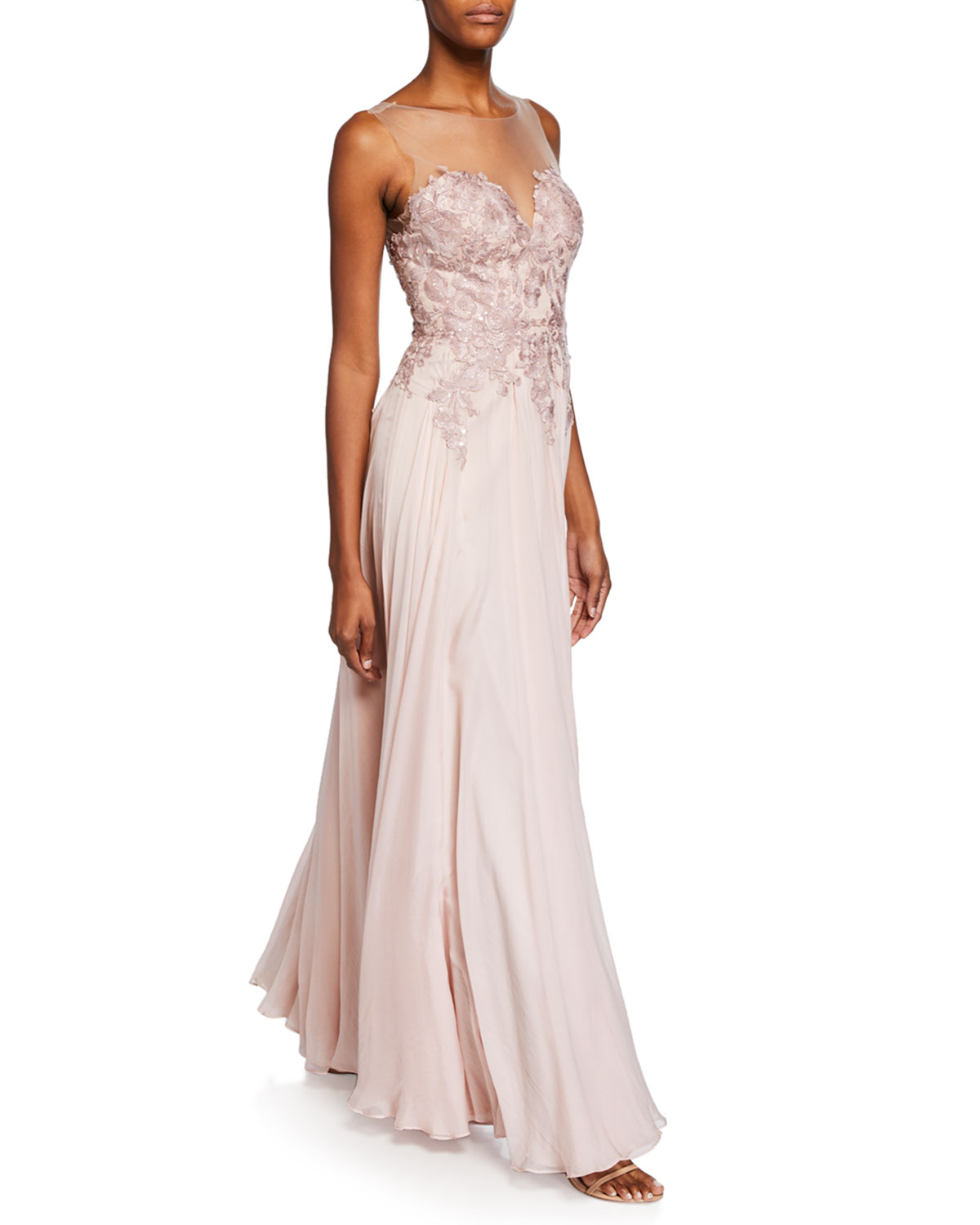 Catherine Deane Misha Light Pink Sweetheart Illusion Sleeveless Silk Chiffon Gown w/ Applique Bodice