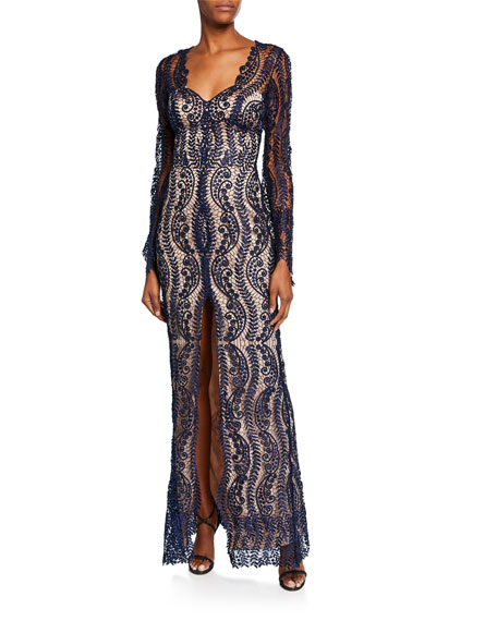 Catherine Deane MISTELLE V-NECK LONG-SLEEVE LACE OVERLAY GOWN