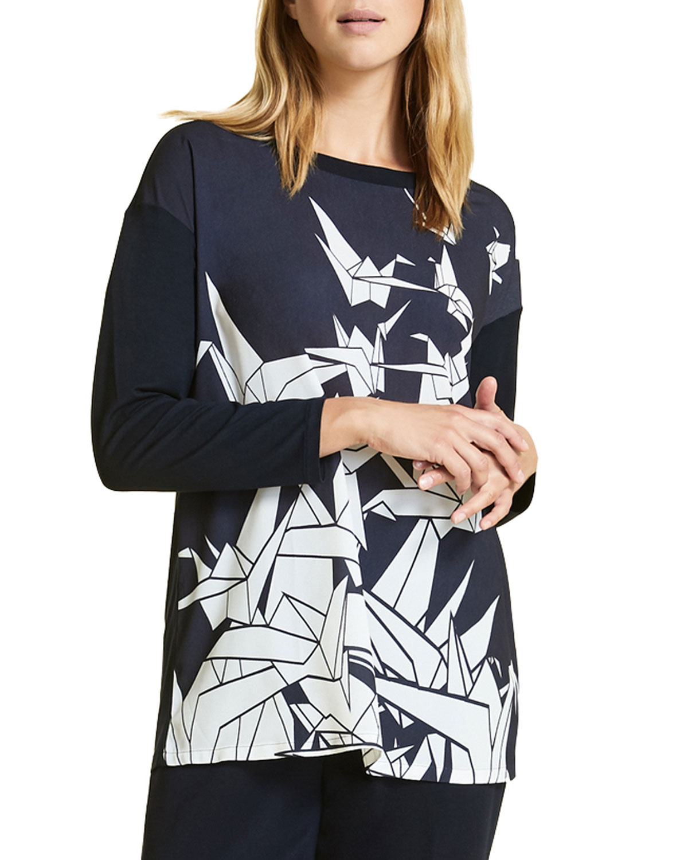 fab6bbe0b4 Marina Rinaldi Venere Origami-Print Long-Sleeve Top | Neiman Marcus