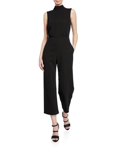 Symone High-Neck Sleeveless Crepe Jumpsuit