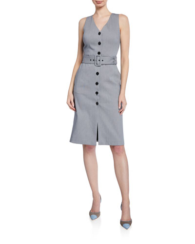 Pritha Plaid Button-Front Sleeveless Dress