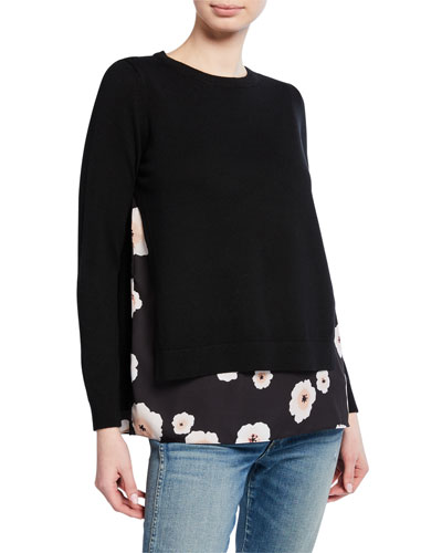 Petrah Wool Sweater with Floral-Print Underlay