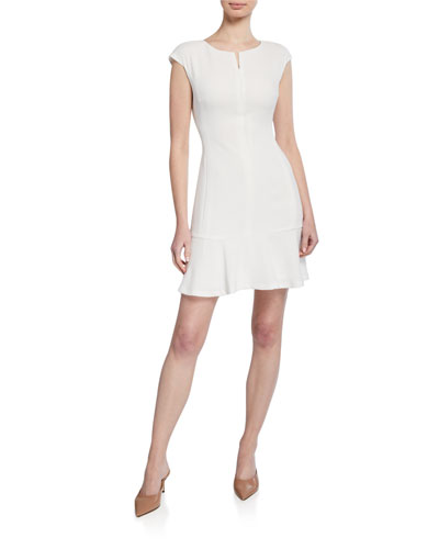 Wikendah Cap-Sleeve Zip-Front Short Dress