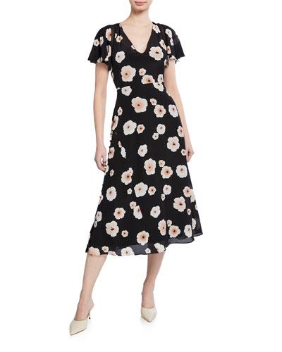 Zameeka Silk Floral Midi Dress