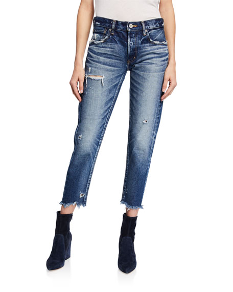 Moussy Jeans KELLEY TAPERED DISTRESSED JEANS
