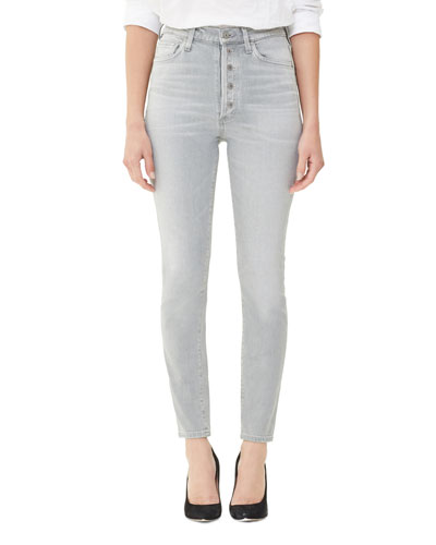 Olivia High-Rise Skinny Jeans with Exposed Button Fly  Zinc