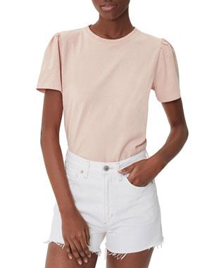 bac8fdf4ef7 Citizens of Humanity Hannah Crewneck Puff-Sleeve Cotton T-Shirt