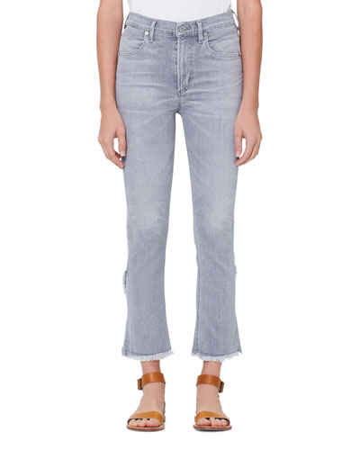 Drew High-Rise Flare-Leg Cropped Fray Jeans
