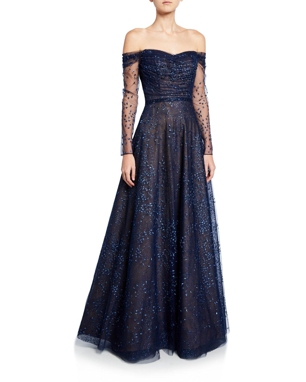 Rene Ruiz Ombre Embellished Off-the-Shoulder Long-Sleeve Shirred Gown