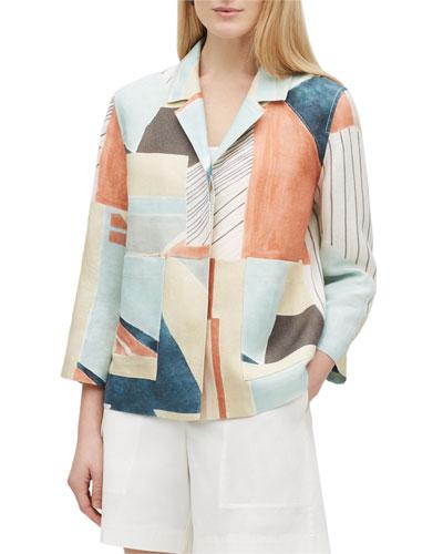 Layken Sunwashed Cityscape Button-Front Linen Jacket
