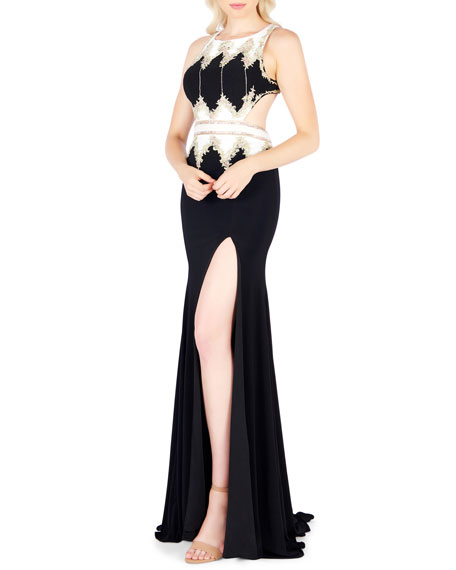 Mac Duggal Dresses HIGH-NECK RACERBACK JERSEY GOWN W/ GOLDEN EMBROIDERY & HIGH SLIT