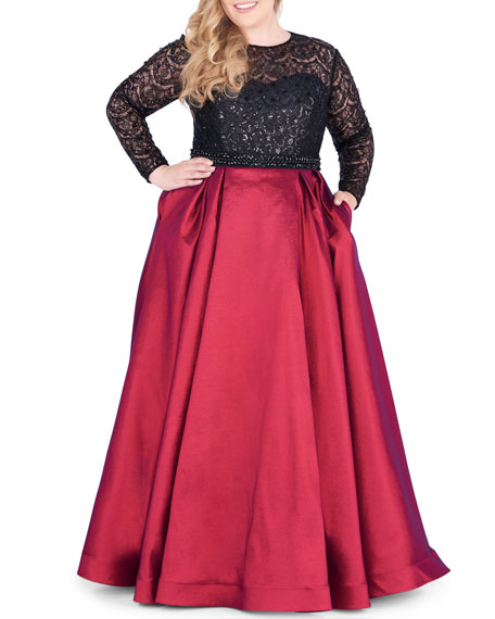 Mac Duggal Dresses PLUS SIZE LONG-SLEEVE SATIN BALL GOWN WITH SEQUIN BODICE