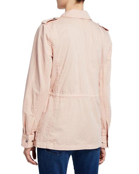 Velvet Military-Style Zip-Front Jacket