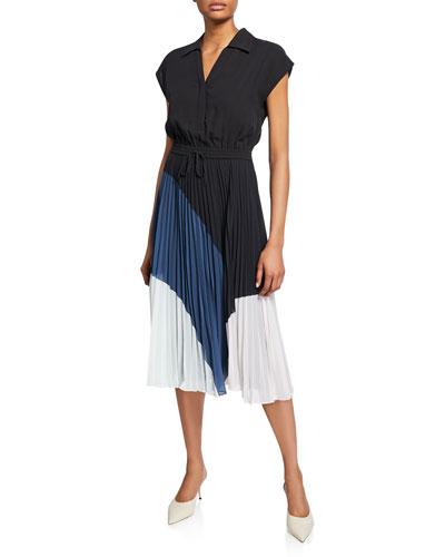 Shoanah Colorblock Short-Sleeve Drawstring-Waist Pleated Dress