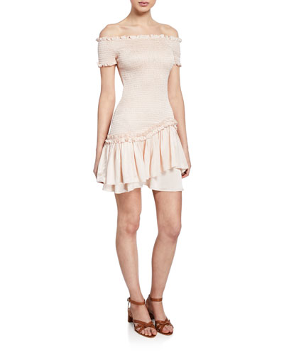 Lolita Off-the-Shoulder Short-Sleeve Smocked Ruffle Mini Dress